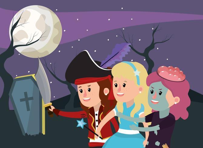 Enfants dans le cimetière portant des costumes d'Halloween de pirate, de princesse et de zombie vecteur