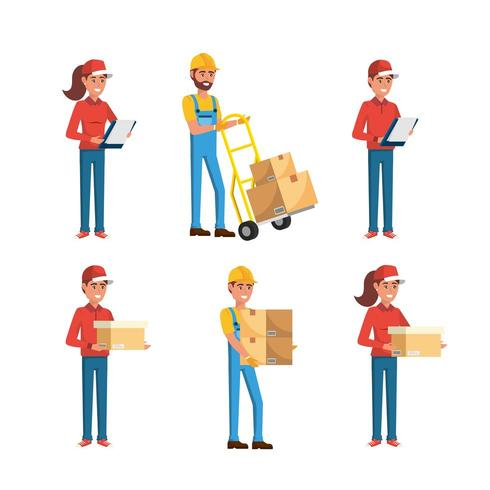 conjunto de repartidores hombres y mujeres con cajas