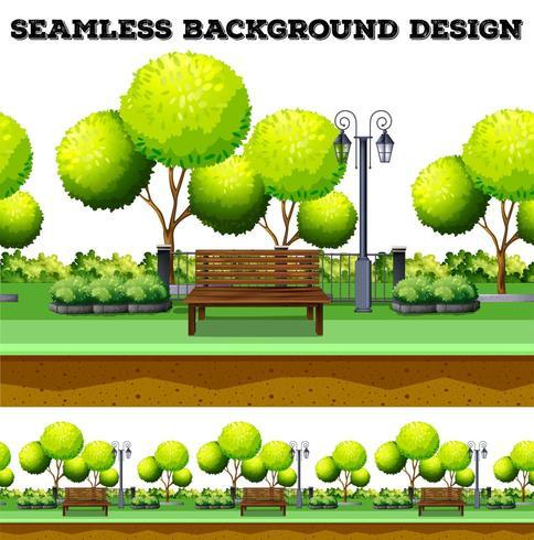 Árvores e banco no parque