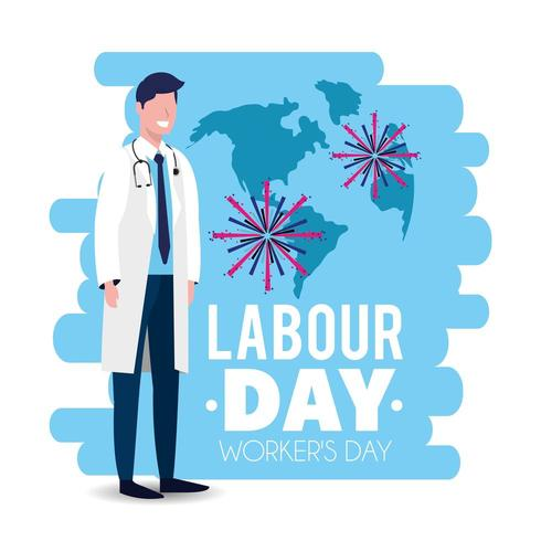 labour day image with doctor in uniform