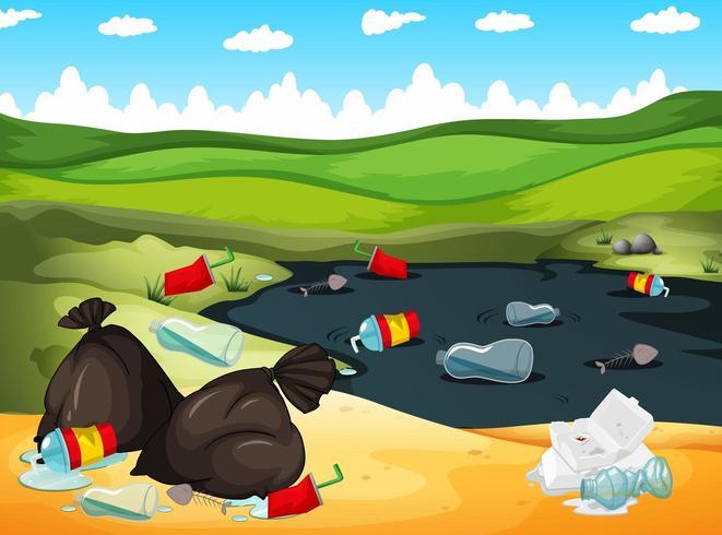 Paysage avec des ordures dans la rivière et autour vecteur
