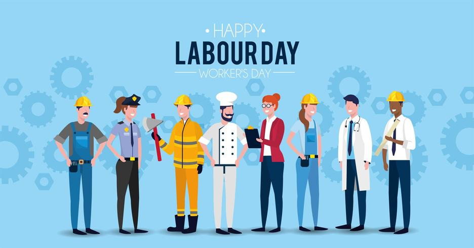 labour day image with professional workers