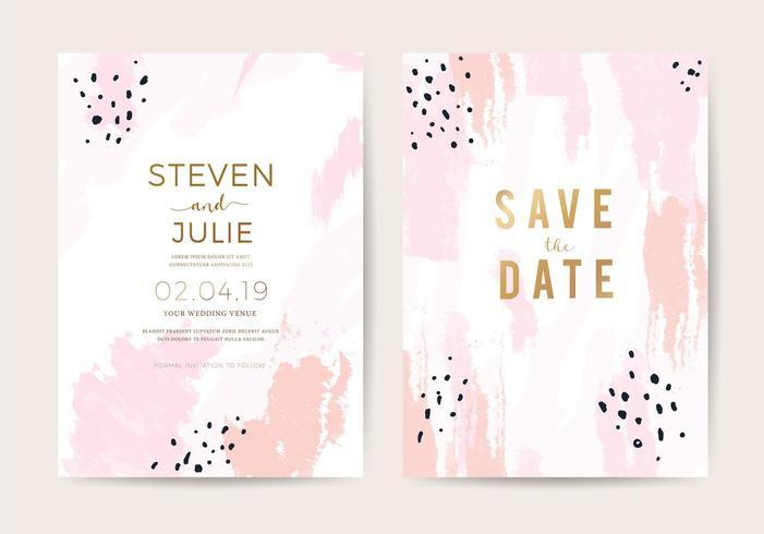 Plantilla de diseño de tarjeta de invitación de boda mínima con textura de pincel de oro rosa y rosa