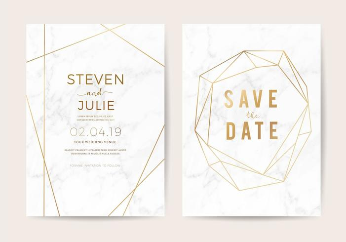 Lyxigt bröllop inbjuder kort med vit marmor textur och guld kant