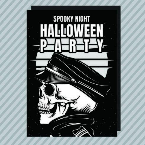 Folleto de invitación de fiesta de Halloween esqueleto