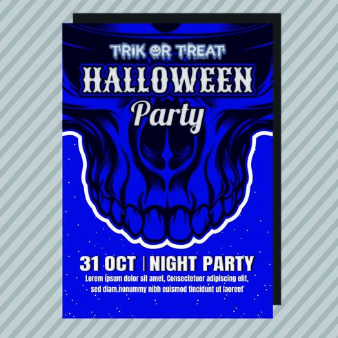 Blauer Halloween-Party-Einladungs-Flyer