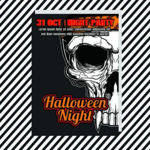 Manifesto verticale di notte festa di Halloween con teschio