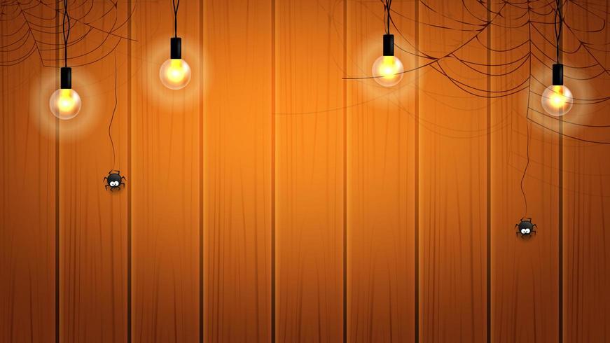 Halloween-Fahne oder -hintergrund mit Glühlampen und Spinnennetzen mit hängenden Spinnen auf hölzerner Wand