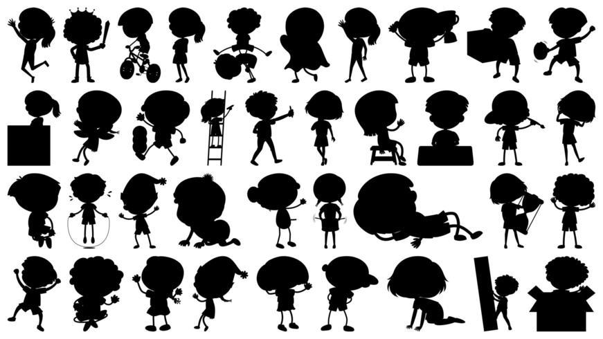 Set van cartoon actieve kinderen silhouetten vector