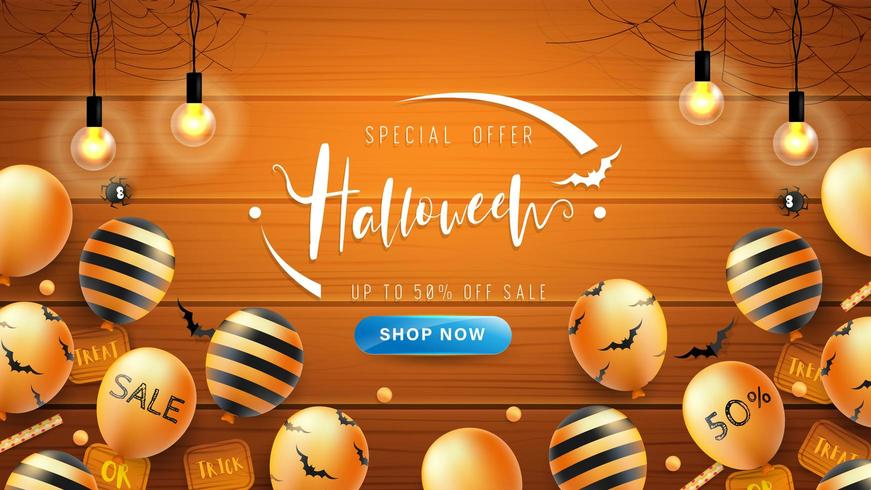 Halloween Banner or Background with bat pattern and balloons on wooden background