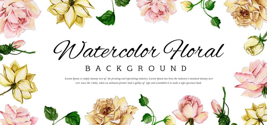 Banner de flores acuarela