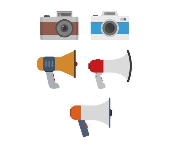 Conjunto de iconos de cámaras y megáfonos