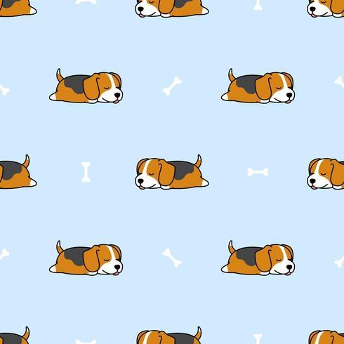Lindo cachorro beagle durmiendo con patrones sin fisuras de dibujos animados de hueso vector
