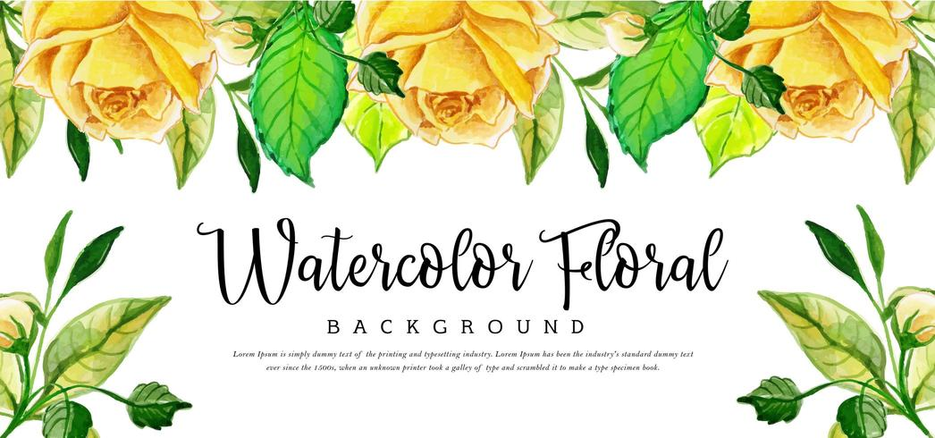 Yellow Watercolor Floral Background