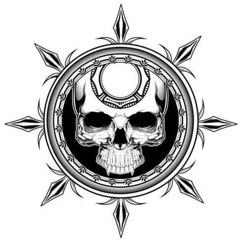 Conception de t-shirt de bouclier de crâne vecteur