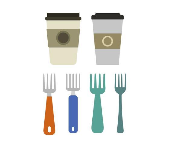 Set de tazas y tenedores