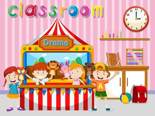 Children having puppet show in classroom