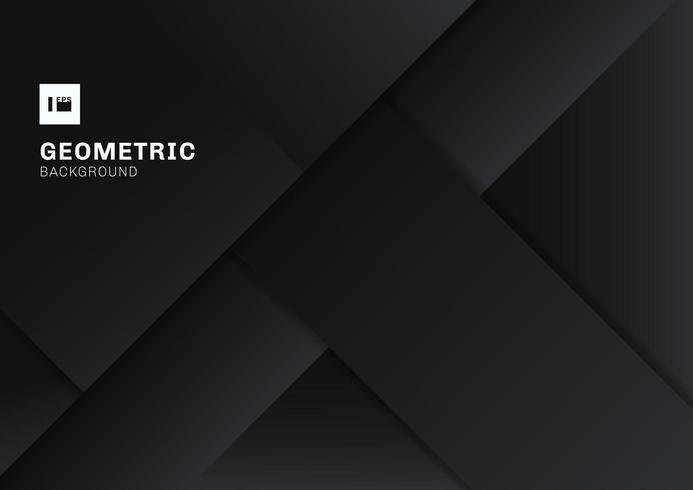 Formes géométriques 3D abstraites noires et grises se chevauchant vecteur