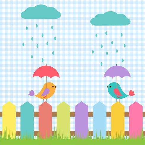 Fond avec des oiseaux sous des parapluies vecteur