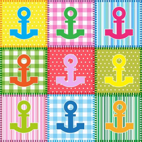 Set of Patchwork  with colorful anchors