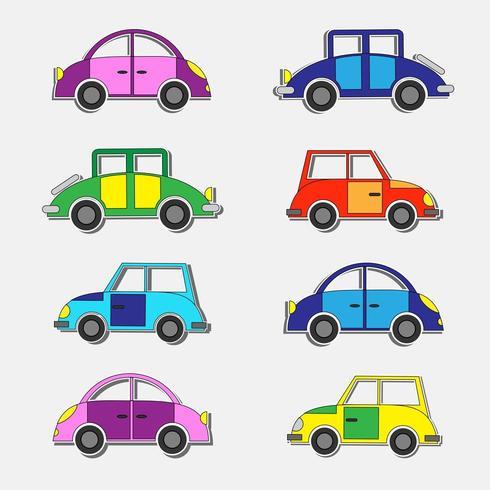 Ensemble d'autocollants colorés de voitures rétro vecteur