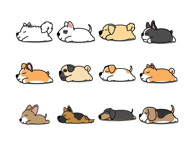 Luie hond slapende cartoon icon set