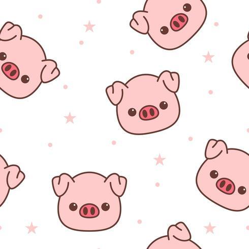 Pig face cartoon seamless pattern