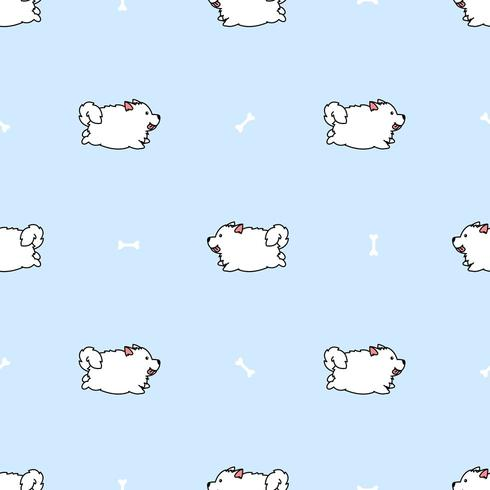 Cute samoyed dog running cartoon seamless pattern vector