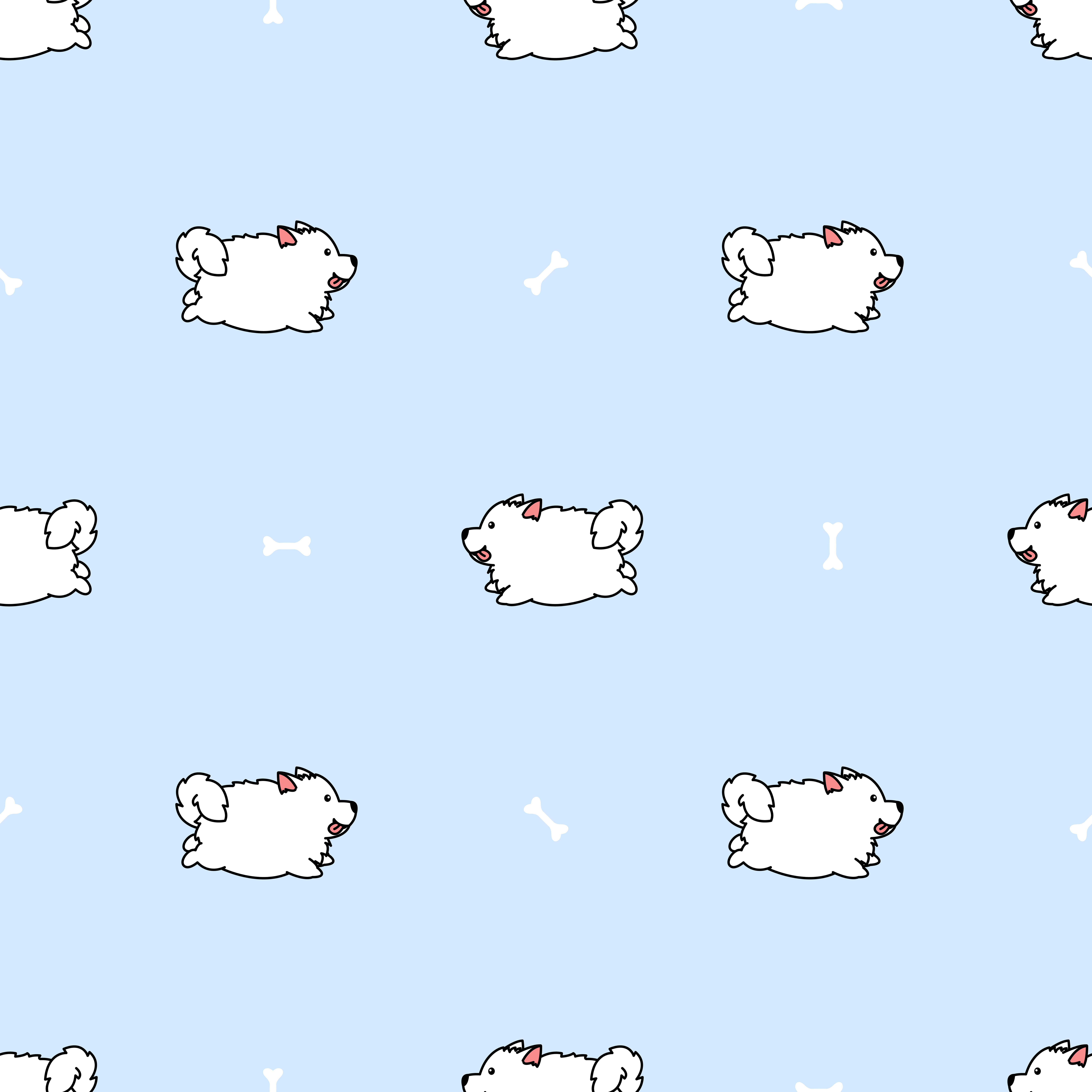 Cute Samoyed Dog Running Cartoon Seamless Pattern Download Free Vectors Clipart Graphics Vector Art