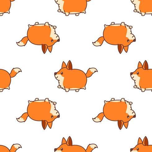Nahtloses Muster der gehenden Karikatur des fetten Fuchses