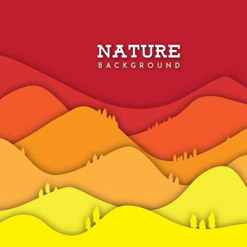 Nature Nature avec effet de papier découpé vecteur