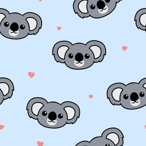 Modèle sans couture de dessin animé mignon visage koala vecteur