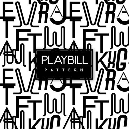 Svartvit sömlös modellbakgrund för Playbill-text