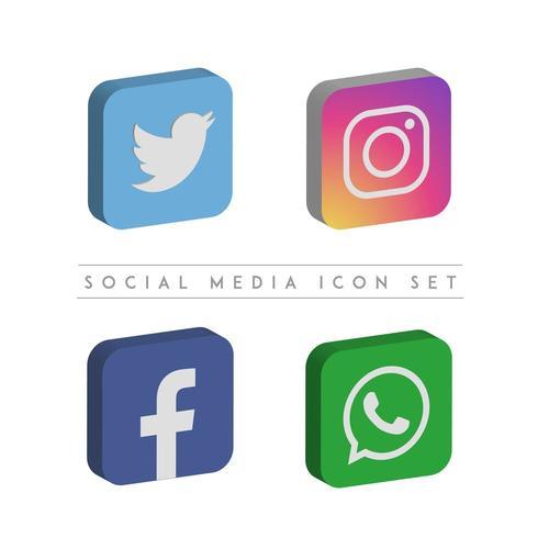 3D-ikonuppsättning för sociala medier