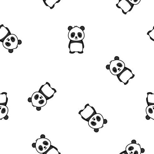 Cute panda cartoon seamless pattern, vector illustation