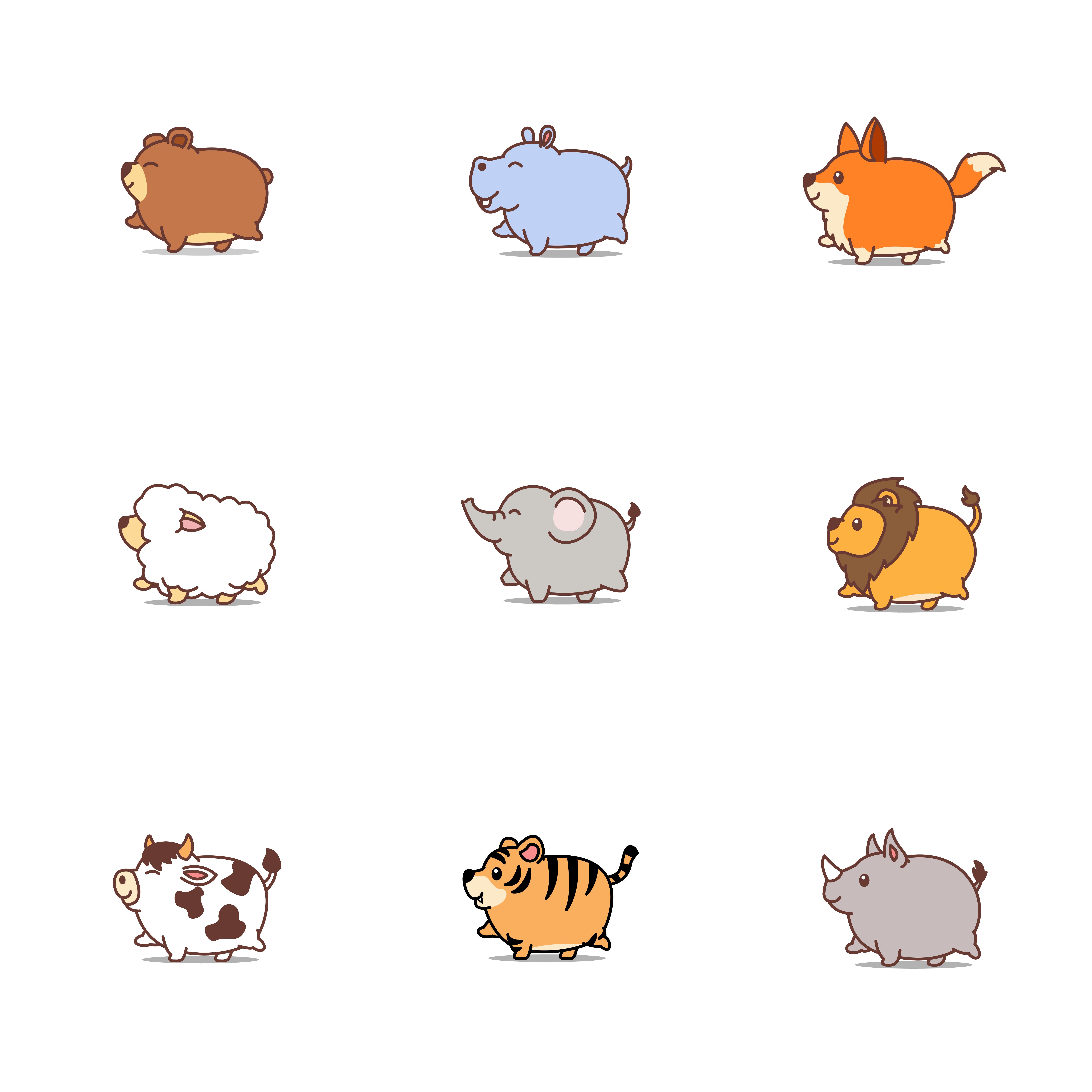 Cute fat animals cartoon icon set - Download Free Vectors ...