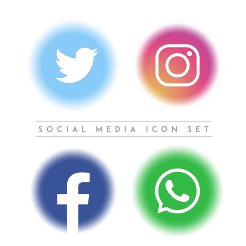 Médias sociaux Vector Icon Set
