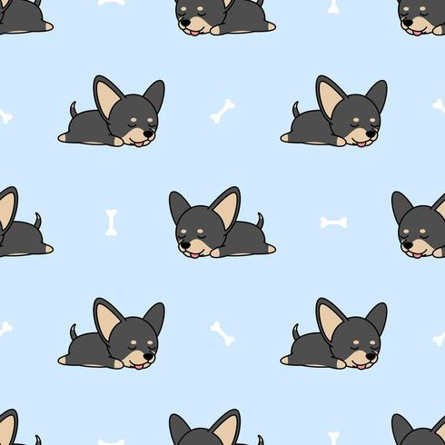 Lindo perro chihuahua durmiendo de patrones sin fisuras vector