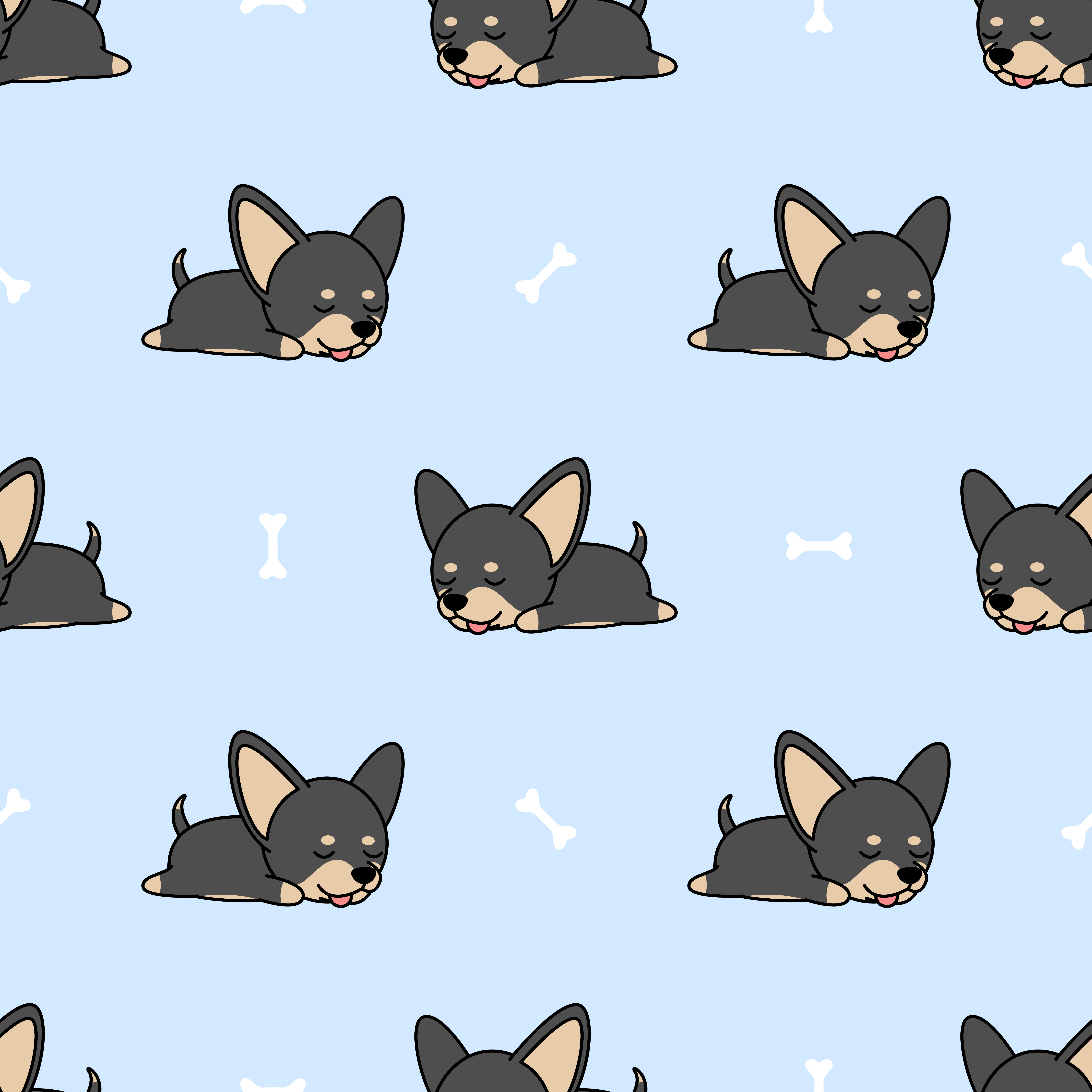 Cute Chihuahua Dog Sleeping Seamless Pattern