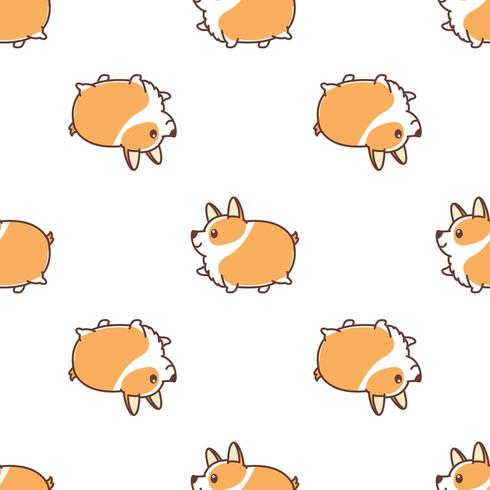 Fat corgi dog walking cartoon seamless pattern vector