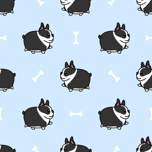 Perro gordo boston terrier caminando de patrones sin fisuras de dibujos animados