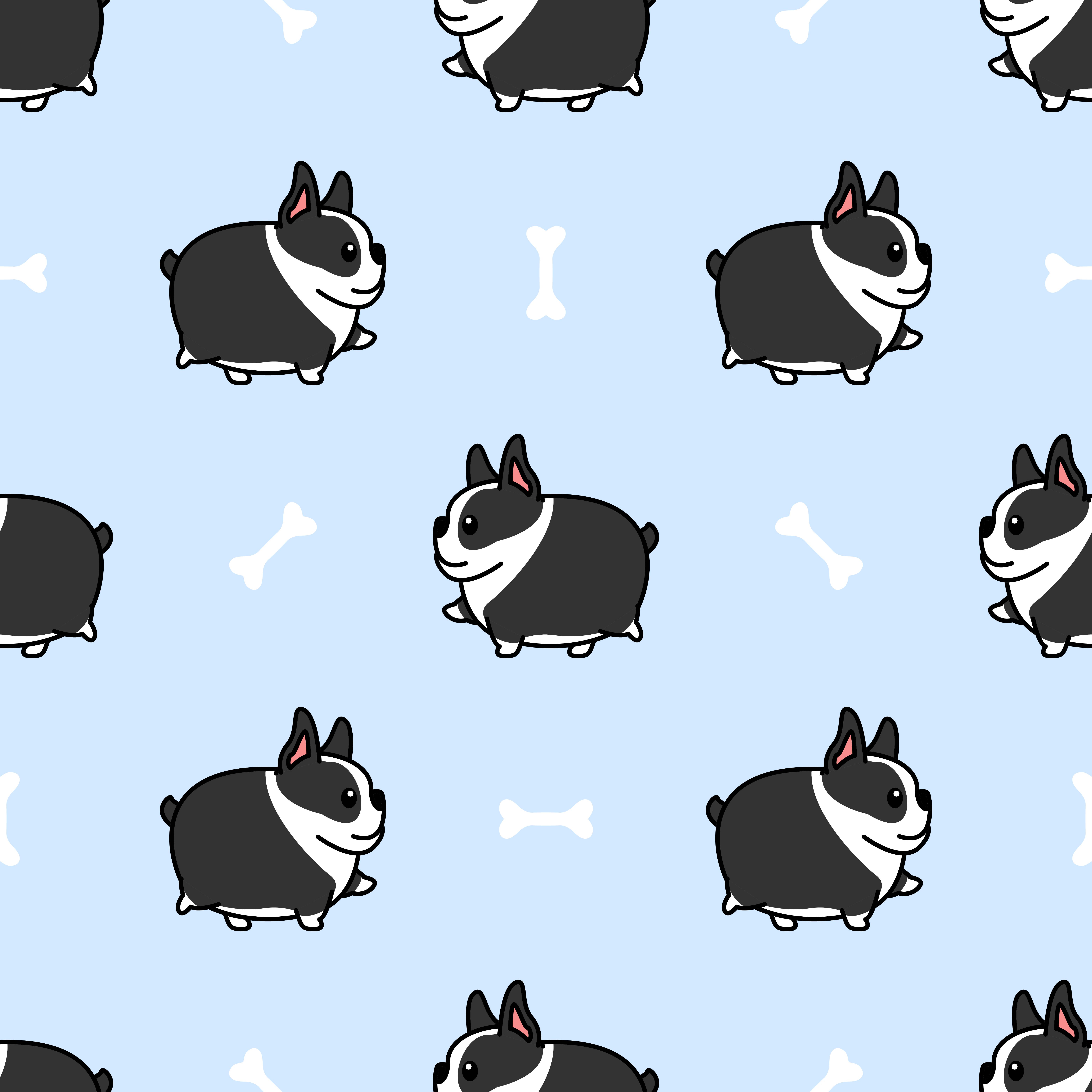 Fat Boston Terrier Dog Walking Cartoon Seamless Pattern