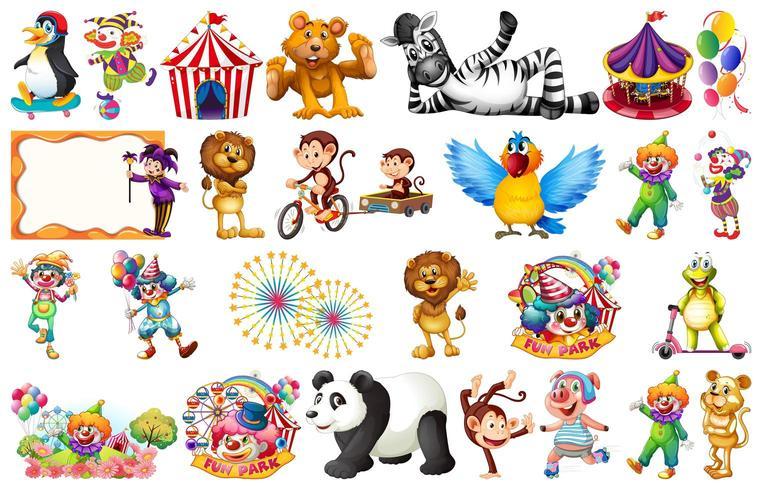 Insieme di elementi e oggetti da circo