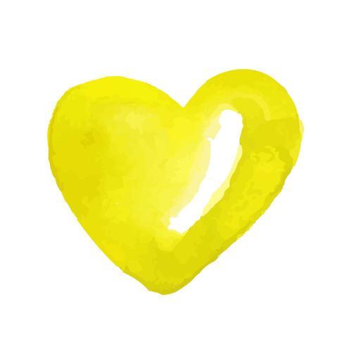 Bonbons dessinés à la main en forme de coeur jaune aquarelle vecteur
