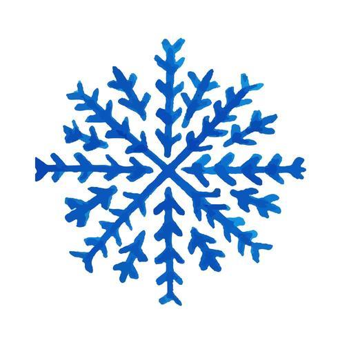 Flocon de neige aquarelle dessiné à la main vecteur