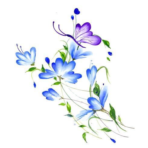 Hermoso arreglo floral púrpura y azul acuarela