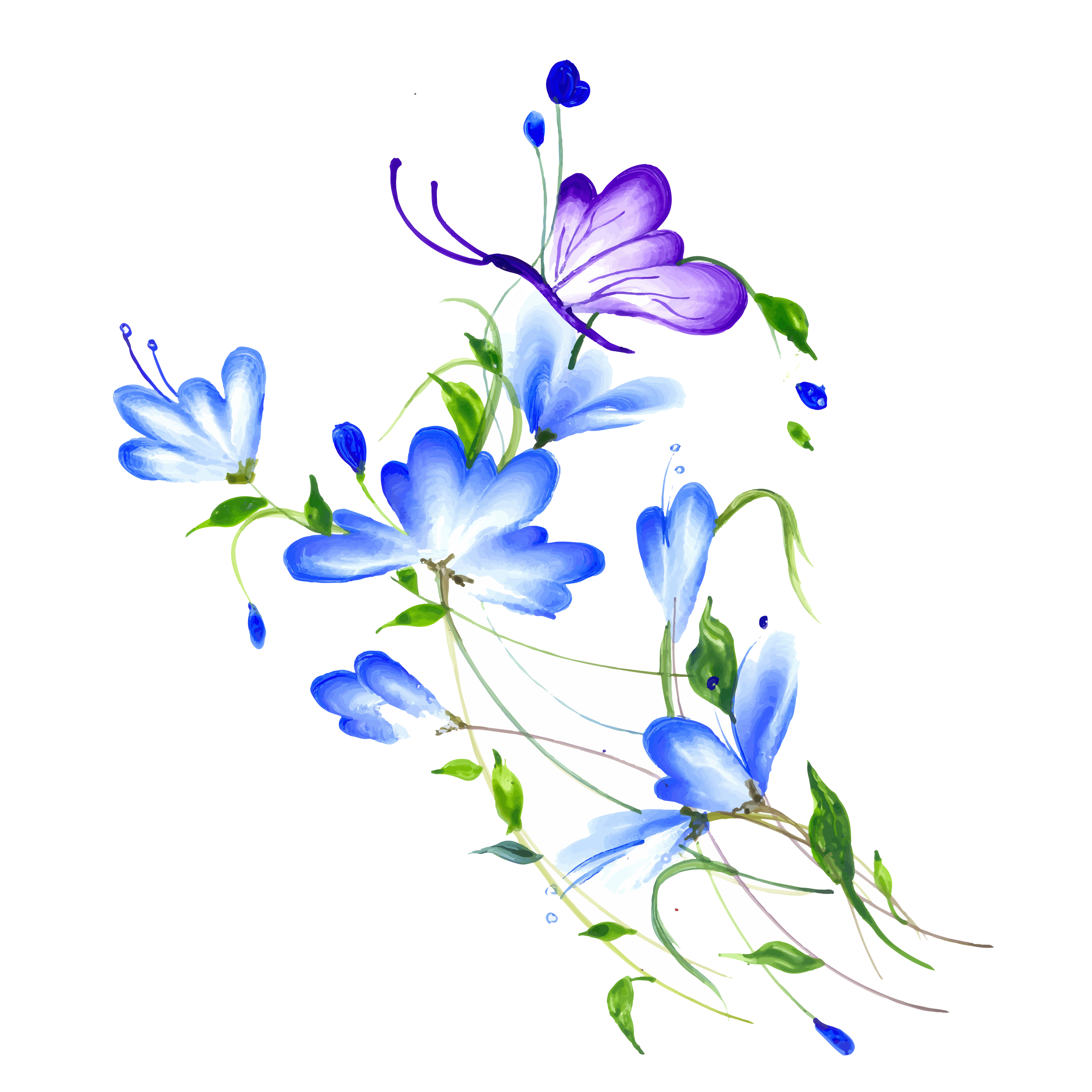 Beautiful Watercolor Purple And Blue Floral Arrangement Download Free Vectors Clipart Graphics Vector Art