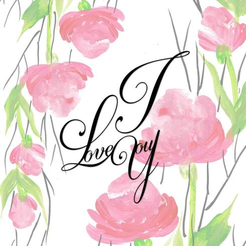 Aquarelle florale valentine je t'aime fond