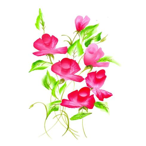 Hermoso AcuarelaRosa y Arreglo Floral Rojo