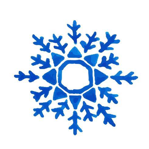 Fiocco di neve dell'acquerello disegnato a mano